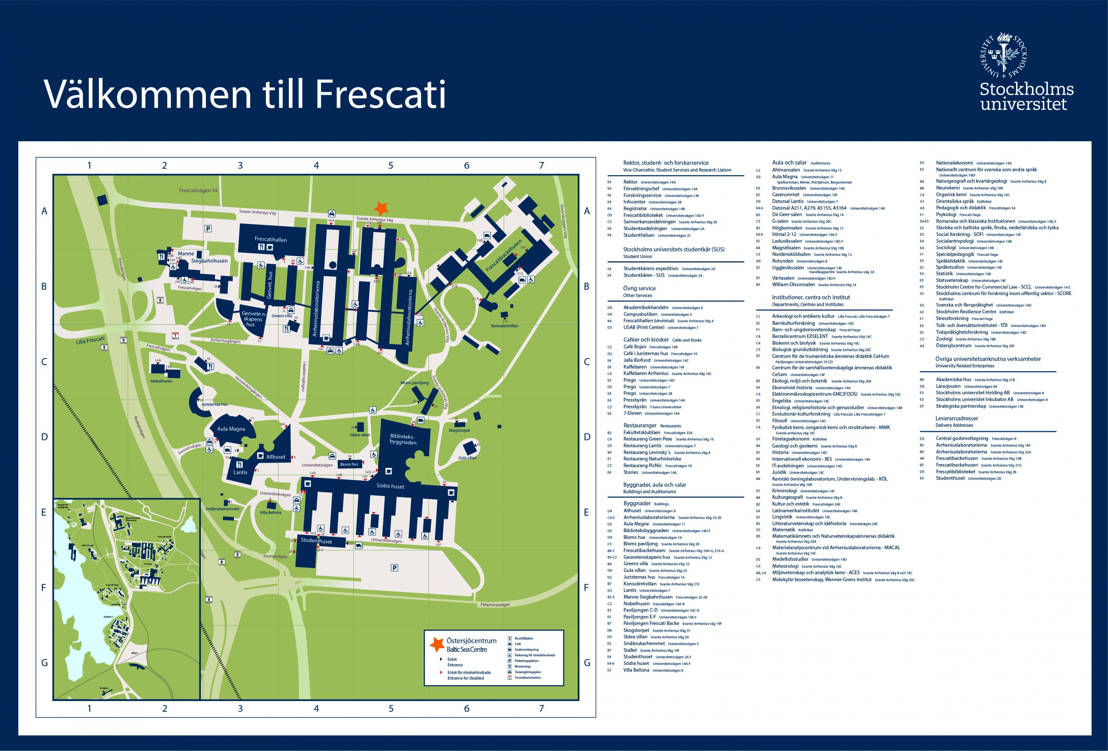 Karta Stockholms Universitet.Stockholms Universitet Map Karta For Stockholms Universitet
