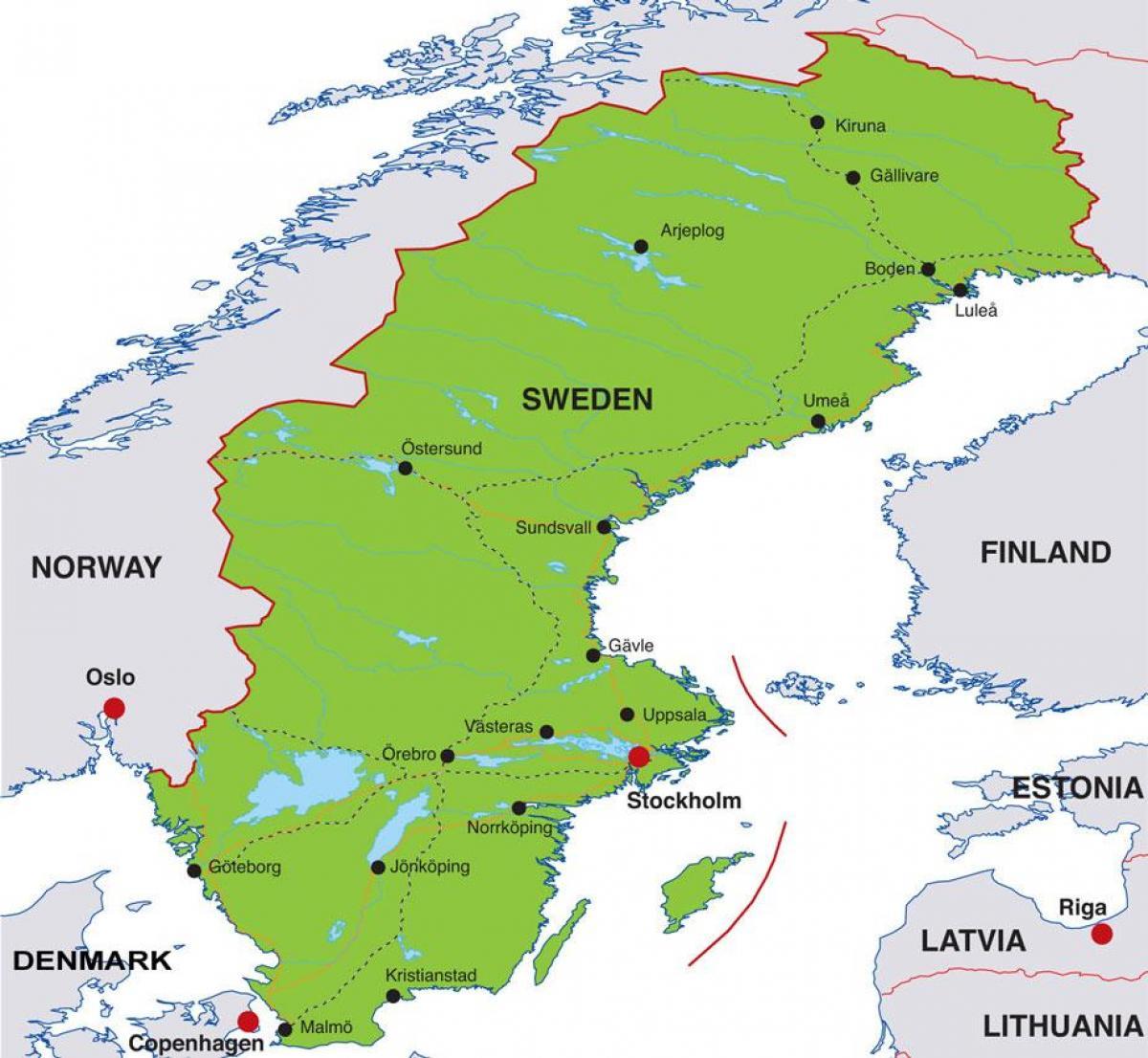 Inkomst Av Sverige Karta Huvudstaden I Sverige Karta Sodermanland